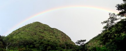 I took this picture as our group was hiking to the Wli Waterfalls. I didn't realize there was a rainbow in the picture until later!