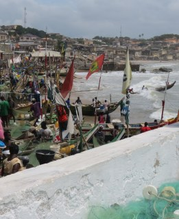 Local fish port. Fish bring in a lot of revenue for Ghana.